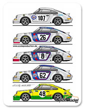 Calca 1/24 Scale Production - Porsche 911 RSR Martini Racing - Nº 107, 26, 8, 62, 48 - Targa Florio 1973