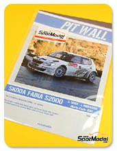 Calcas 1/24 Pit Wall - Skoda Fabia S2000 Wings for Life - Nº 15 - S. Ogier + J. Ingrassia - Montecarlo rally 2012 para kit de Belkits BEL-004