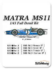 Kit 1/43 Model Factory Hiro - Matra MS11 ELF - Nº 1 - J.P. Beltoise - Gran Premio de Francia 1968 - kit Multimedia