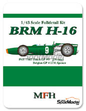 Kit 1/43 Model Factory Hiro - BRM H-16 - Nº 9 - J. Stewart - Gran Premio de Belgica + Holanda 1967 - kit Multimedia