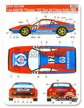 Calcas 1/24 Studio27 - Ferrari 308 GTB Pionner - Nº 12 - Andruet + Biche - Tour de France 1982 para kits de Revell REV07302 y REV07316