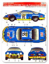 Calcas 1/24 Studio27 - Renault Alpine A110 BIC - Nº 95 - Marquet + Paoletti - Rally de Montecarlo 1972 para kit de tamiya TAM24278