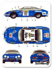 Calcas 1/24 Studio27 - Renault Alpine A110 BIC - Nº 97 - JL Therier + G. Roure - Rally de Montecarlo 1972 para kit de tamiya TAM24278