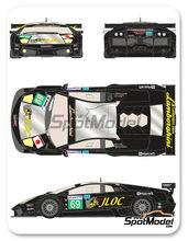Calcas 1/24 Racing Decals 43 - Lamborghini Murcielago LP670 R-SV JLOC - Nº 69 - Atsushi Yogo + Koji Yamanishi + Hiroyuki Iiri - 24 Horas de Le Mans 2010 para kit de Aoshima AOSH-007082
