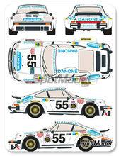 Calcas 1/24 Racing Decals 43 - Porsche 911 934 RSR Danone - Nº 55 - Juan Fernandez + Eugenio Baturone + Rafael Tarradas - 24 Horas de Le Mans 1977 para kit de Tamiya TAM24328