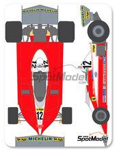 Calcas 1/20 Shunko Models - Ferrari 312T3 Fiat - Nº 11, 12 - Gilles Villeneuve, Carlos Reutermann - Campeonato del mundo 1978 para kit de Tamiya