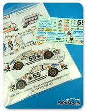 Calcas 1/24 Racing Decals 43 - Porsche 911 934 RSR Danone Nº 55 - Juan Fernandez + Eugenio Baturone + Rafael Tarradas - 24 Horas de Le Mans 1977 - para usar con kit de Tamiya TAM24328