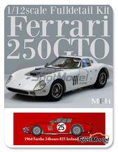 Maqueta de coche 1/12 Model Factory Hiro - Ferrari 250 GTO chasis 4399GT Maranello Concessionaires Nº 25 - Innes Ireland + Tony Maggs - 24 Horas de Le Mans 1964 - kit multimaterial
