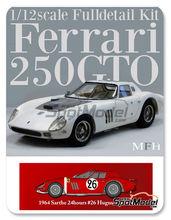 Maqueta de coche 1/12 Model Factory Hiro - Ferrari 250 GTO chasis 4399GT North American Racing Team Nº 26 - Ed Hugus + Jose Rosinski - 24 Horas de Le Mans 1964 - kit multimaterial