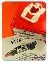 Maqueta de coche 1/24 Model Factory Hiro - Porsche 917K Martini Nº 8, 9 - Vic Elford + Brian Redman, Gerard Larrousse + Gijs van Lennep - 1000 Kms de Brands Hatch 1971 - kit multimaterial