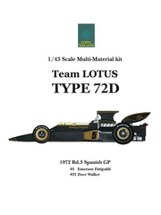 Maqueta de coche 1/43 Model Factory Hiro - Lotus Ford Type 72D John Player Special Nº 5, 21 - Emerson Fittipaldi, Dave Walker - Gran Premio de España 1972 - kit multimaterial