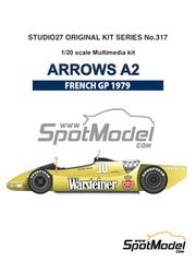 Maqueta de coche 1/20 Studio27 - Arrows Ford A2 Warsteiner Nº 29, 30 - Riccardo Patrese, Jochen Mass - Gran Premio de Francia 1979 - kit multimaterial