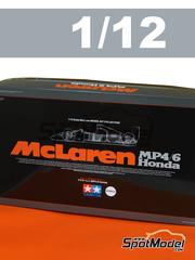 Tamiya: Maqueta de coche escala 1/12 - McLaren Honda MP4/6 Shell Nº 1, 2 - Ayrton Senna, Gerhard Berger - Campeonato del Mundo 1991 - maqueta de plástico