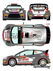 Racing Decals 43: Calcas escala 1/24 - Ford Fiesta RS WRC Lotos Nº 16 - Robert Kubica + Maciej Szczepaniak - Rally de Montecarlo 2015 - para kit de Belkits BEL-003