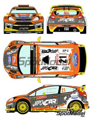 Racing Decals 43: Calcas escala 1/24 - Ford Fiesta RS WRC Jipocar Czech National Team Nº 21 - Martin Prokop (CZ) + Jan Tománek - Rally de Montecarlo 2015 - para kit de Belkits BEL-003