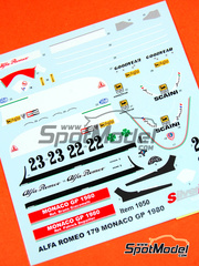 Tameo Kits: Calcas escala 1/43 - Alfa Romeo 179 Marlboro Nº 22, 23 - Bruno Giacomelli (IT), Patrick Depailler (FR) - Gran Premio de Monaco 1980