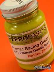 Zero Paints: Pintura - Verde Pramac Racing Ducati Team - 60ml Pramac 2011 - para aerógrafo