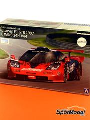 Aoshima: Maqueta de coche escala 1/24 - McLaren F1 GTR Long Tail Lark Nº 44 - Masanori Sekiya (JP) + Keiichi Tsuchiya (JP) + Akahiko Nakaya (JP) - 24 Horas de Le Mans 1997 - kit de plástico