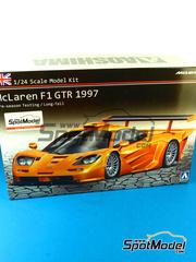 Aoshima: Maqueta de coche escala 1/24 - McLaren F1 GTR Long Tail - Version de test 1997 - maqueta de plástico