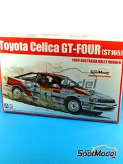 Aoshima: Maqueta de coche escala 1/24 - Toyota Celica GT-Four ST165 Repsol Nº 1 - Juha Kankkunen (FI) + Juha Piironen (FI) - Rally de Australia 1989 - maqueta de plástico