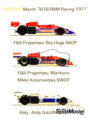 This Way Up: Calcas escala 1/43 - March Ford 761B Marlboro F&S Properties Baty Nº 32, 33 - Boy Hayje (NL), Mikko Kozarowitzky (FI), Andy Sutcliffe (GB) - Gran Premio de Inglaterra, Gran Premio de Sudafrica, Gran Premio de Suecia 1977 - para kit de Tameo TMK235, TMK271