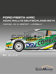 Mf-zone: Calcas escala 1/24 - Ford Fiesta WRC DSV Nº 23 - Sam Moffett (IE) + James O'Reilly (IE) - Rally de Alemania ADAC 2014 - para kit de Belkits BEL-003