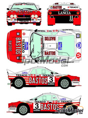 Racing Decals 43: Calcas escala 1/24 - Lancia 037 Rally Bastos Texaco Rally Team Nº 3 - Patrick Snijers (BE) + Dany Colebunders (BE) - Rally de Haspengow  1985 - para kit de Hasegawa 20264, 25030