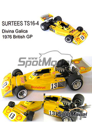 This Way Up: Maqueta de coche escala 1/43 - Surtees TS16-4 Rolatruc Shell Nº 13 - Divina Galica (GB) - Gran Premio de Inglaterra 1976 - maqueta de metal