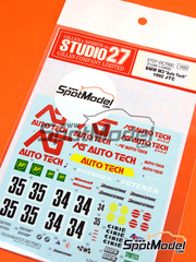 Studio27: Calcas escala 1/24 - BMW M3 AS Auto Tech Nº 34, 35 - Mark Higgins (GB), Roland Ratzenberger (AT) - Campeonato Japones de Turismos - JTCC 1992 - para kit de Fujimi FJ12572, FJ062440, FJ062624, FJ062693