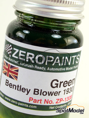 Zero Paints: Pintura - Verde Bentley 4.5L Blower Green - 60ml - para kit de Revell REV07007, kit de Heller HELLER-80722