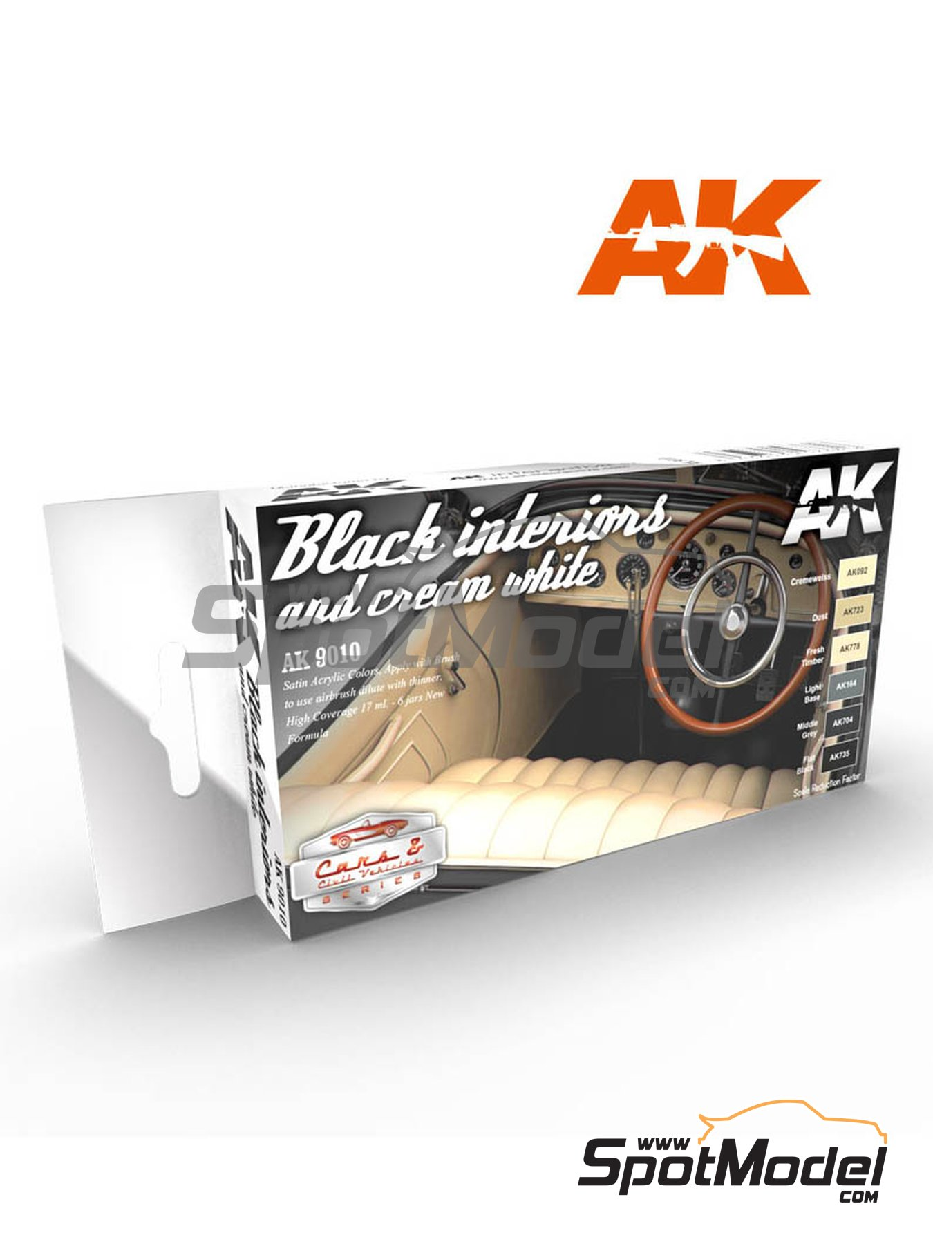 Black and cream white interiors | Paints set manufactured by AK Interactive (ref. AK9010) image