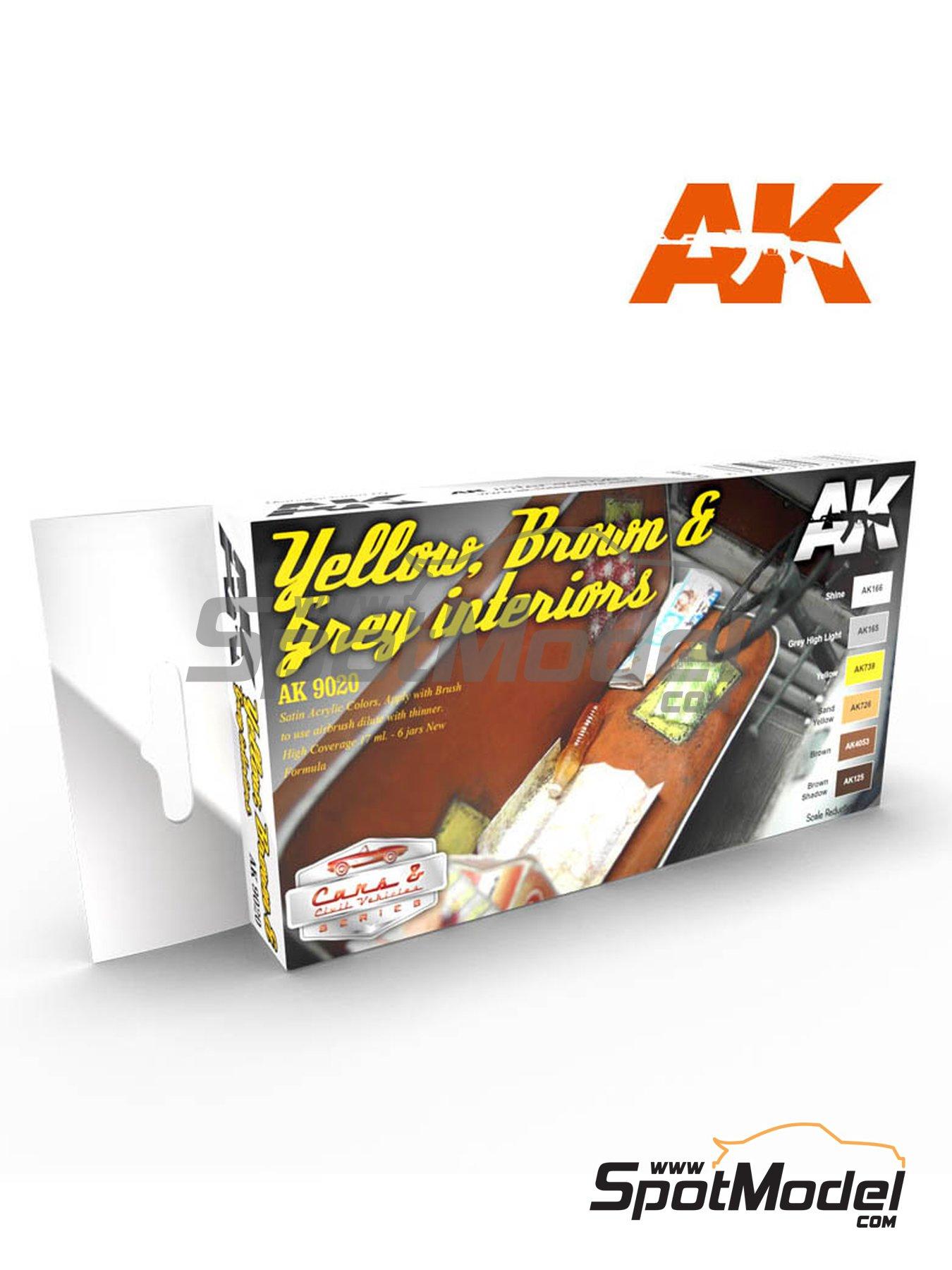 Interiores amarillos, marrones y grises - 6 x 17ml | Set de pinturas fabricado por AK Interactive (ref.AK9020) image