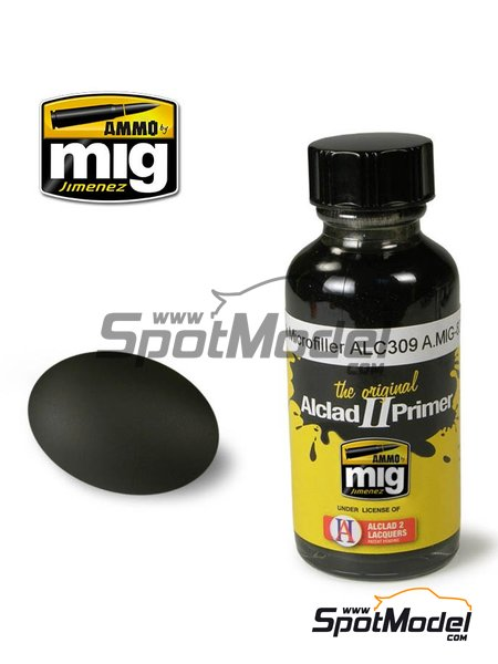 Black microfiller primer ALC309 - 1 x 30ml | Primer manufactured by AMMO of Mig Jimenez (ref.A.MIG-8211, also AMIG8211 and ALC309) image