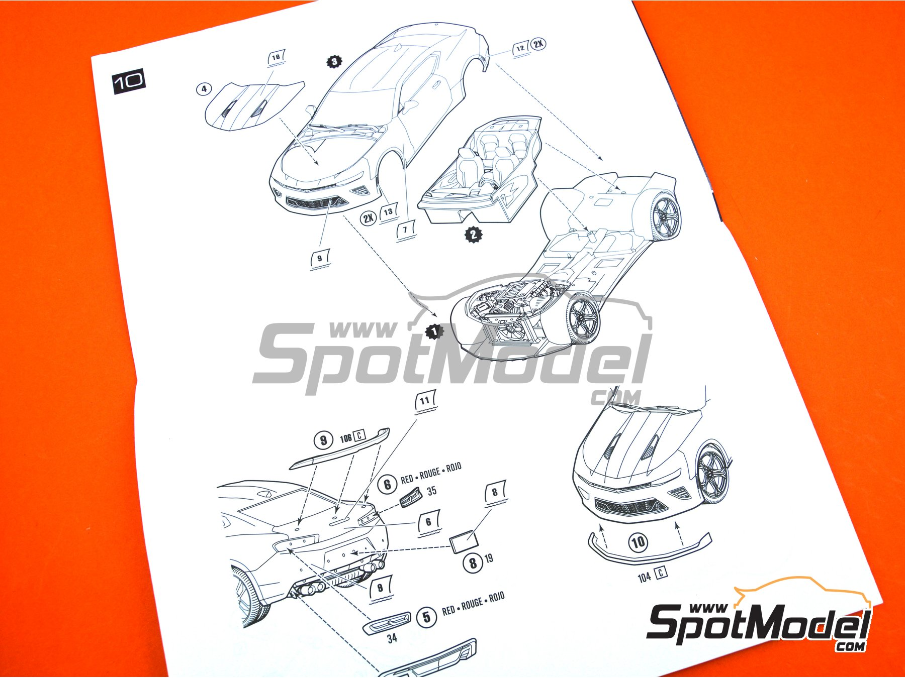 Image 16: Chevrolet Camaro SS LE1 -  2017 | Model car kit in 1/25 scale manufactured by AMT (ref.AMT1074)