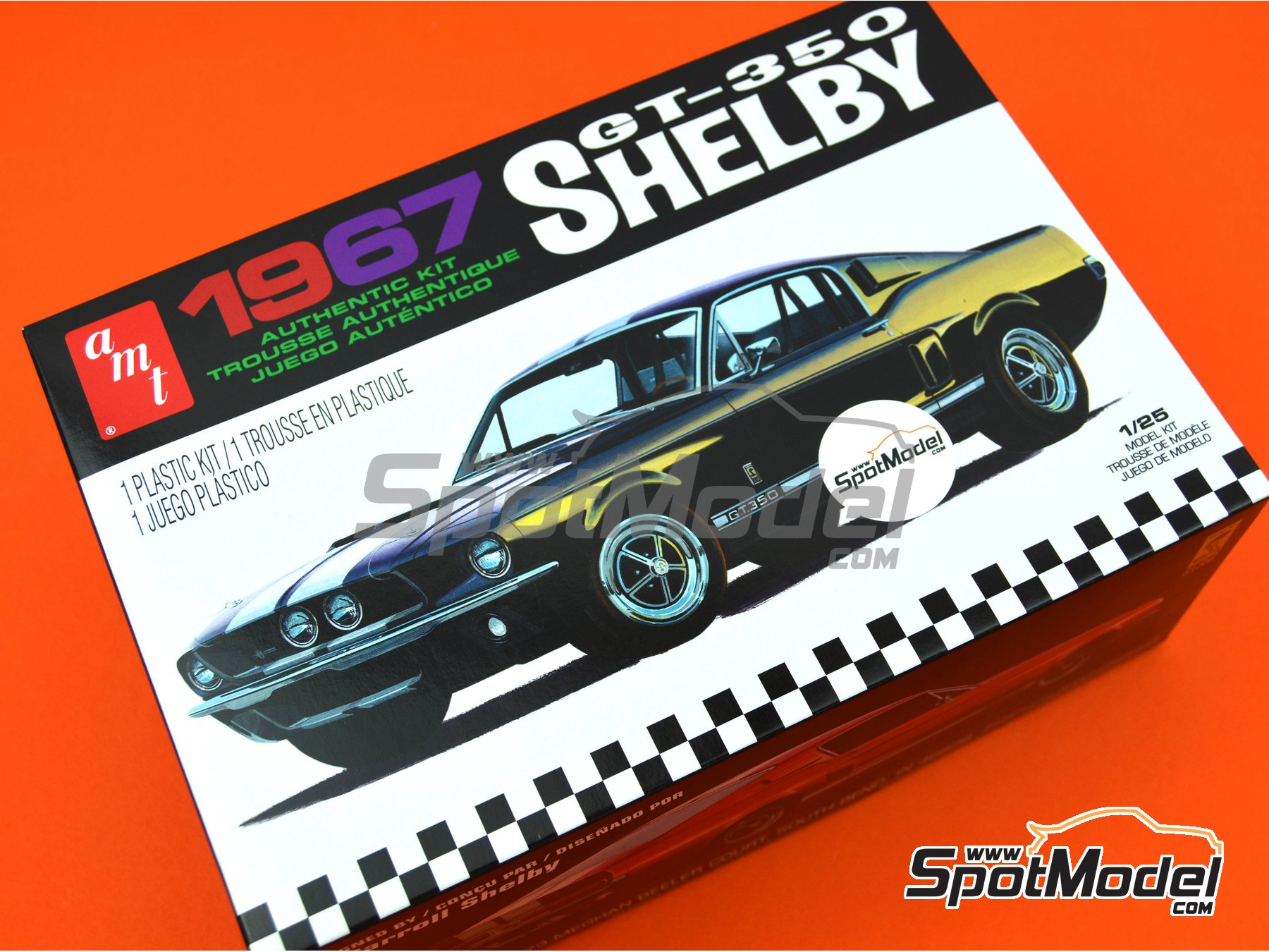 Image 12: Ford Shelby GT-350 -  1967 | Model car kit in 1/25 scale manufactured by AMT (ref. AMT834)