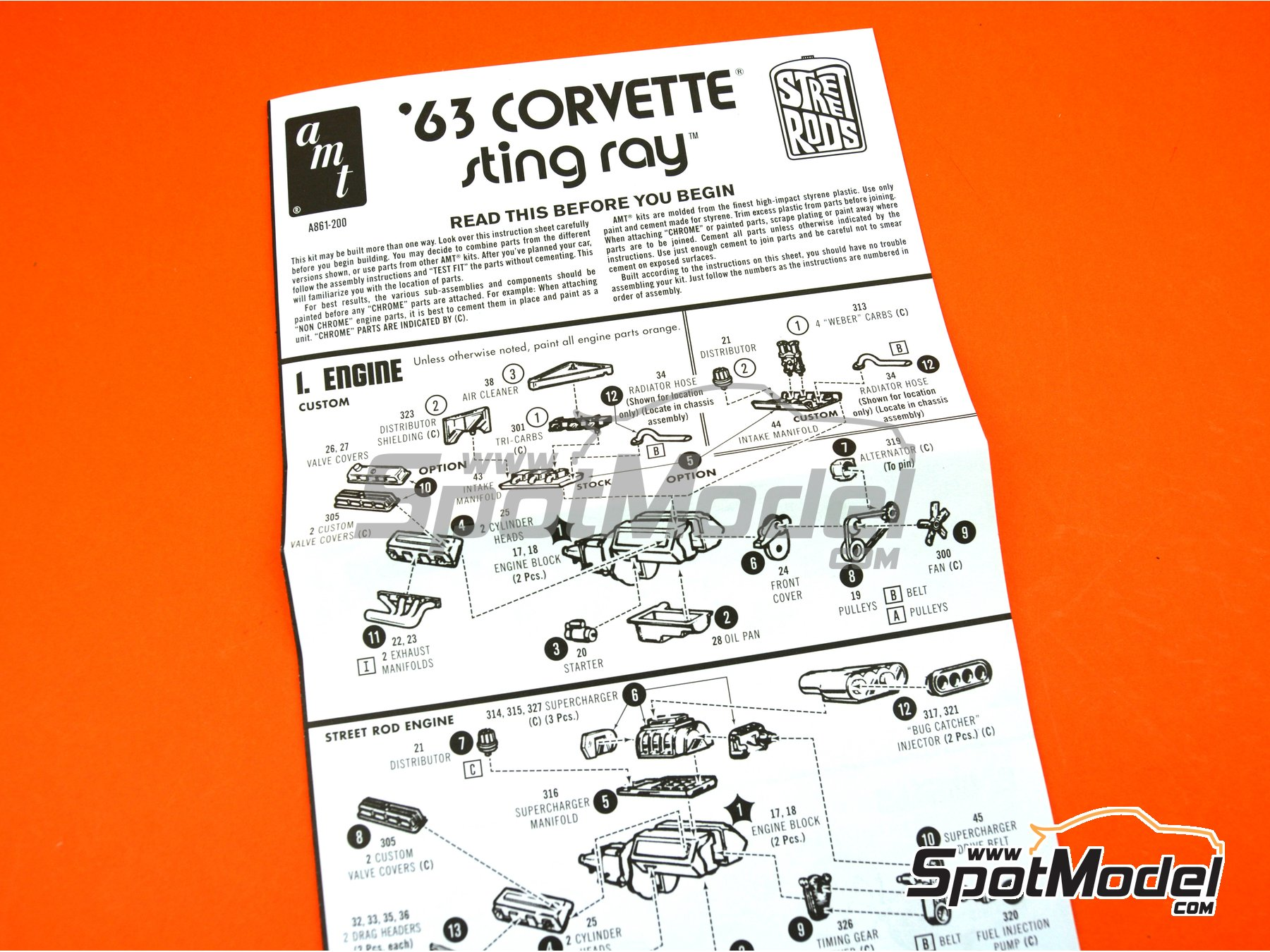 Image 10: Chevrolet Corvette Sting Ray -  1963 | Model car kit in 1/25 scale manufactured by AMT (ref.AMT861)