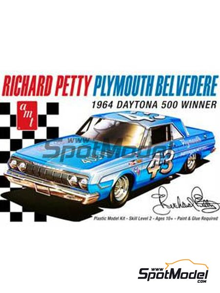 Plymouth Belvedere Patterson Motors Inc. - Daytona 500 miles 1964 | Model car kit in 1/25 scale manufactured by AMT (ref. AMT989) image