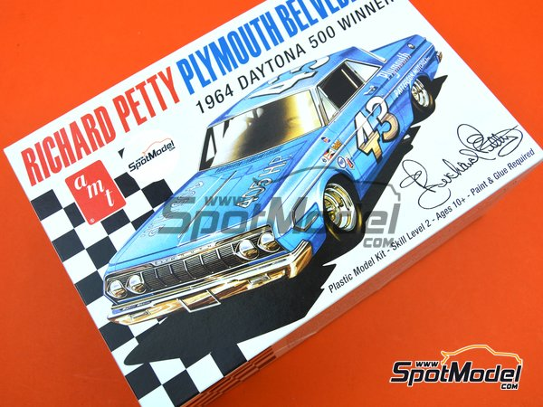 Image 14: Plymouth Belvedere Patterson Motors Inc. - Daytona 500 miles 1964 | Model car kit in 1/25 scale manufactured by AMT (ref.AMT989)