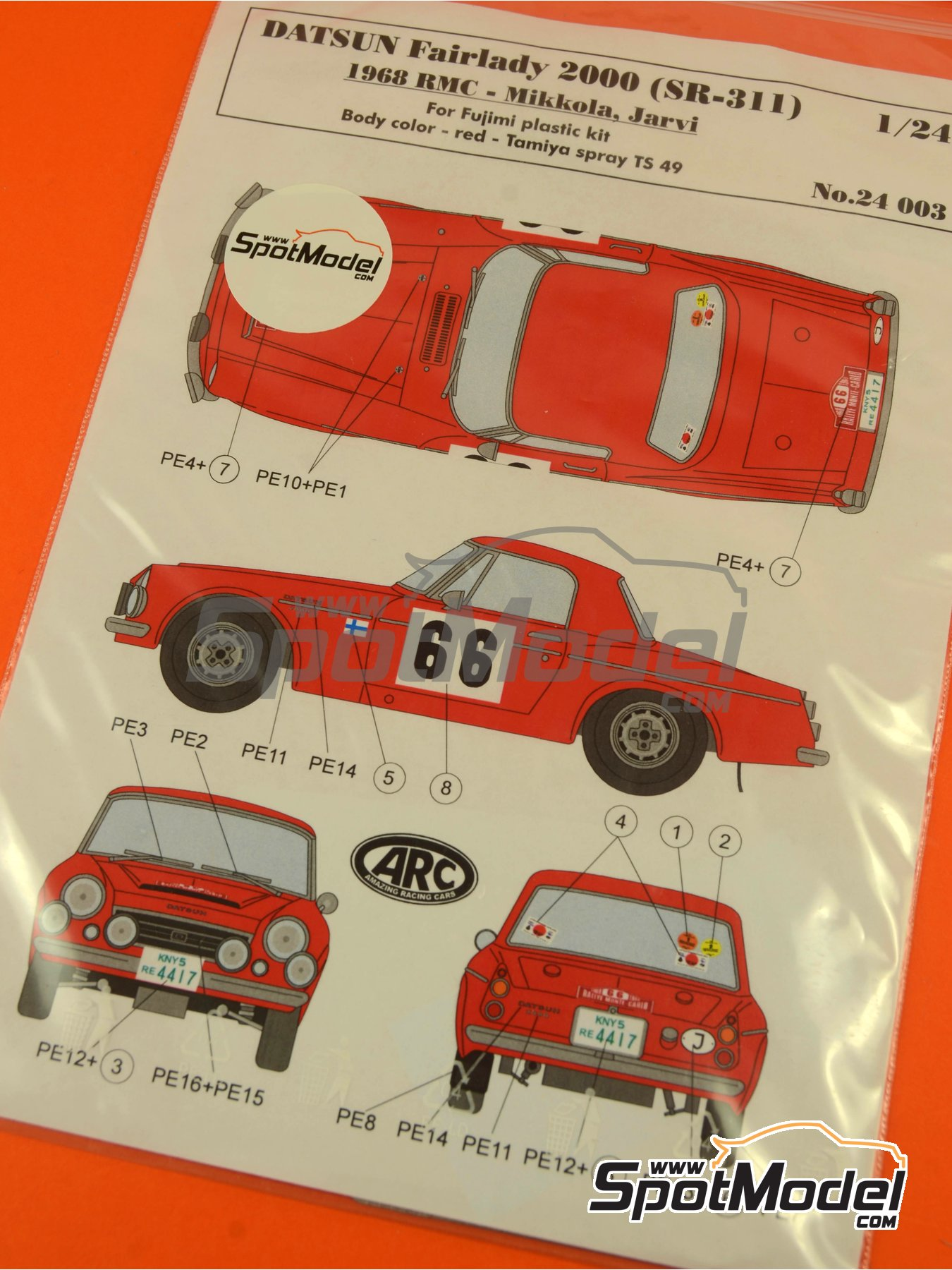 Datsun Fairlady 2000 SR311 - Rally de Montecarlo 1968 y 1968 | Decoración en escala 1/24 fabricado por ARC Amazing Racing Cars (ref. ARC24003) image