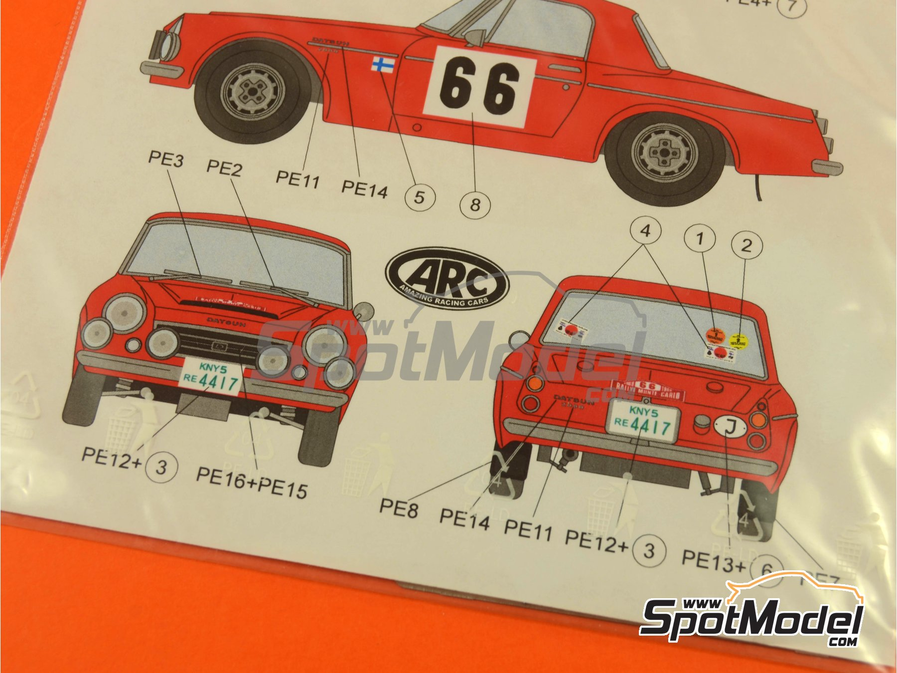 Image 6: Datsun Fairlady 2000 SR311 - Rally de Montecarlo 1968 y 1968 | Decoración en escala 1/24 fabricado por ARC Amazing Racing Cars (ref. ARC24003)