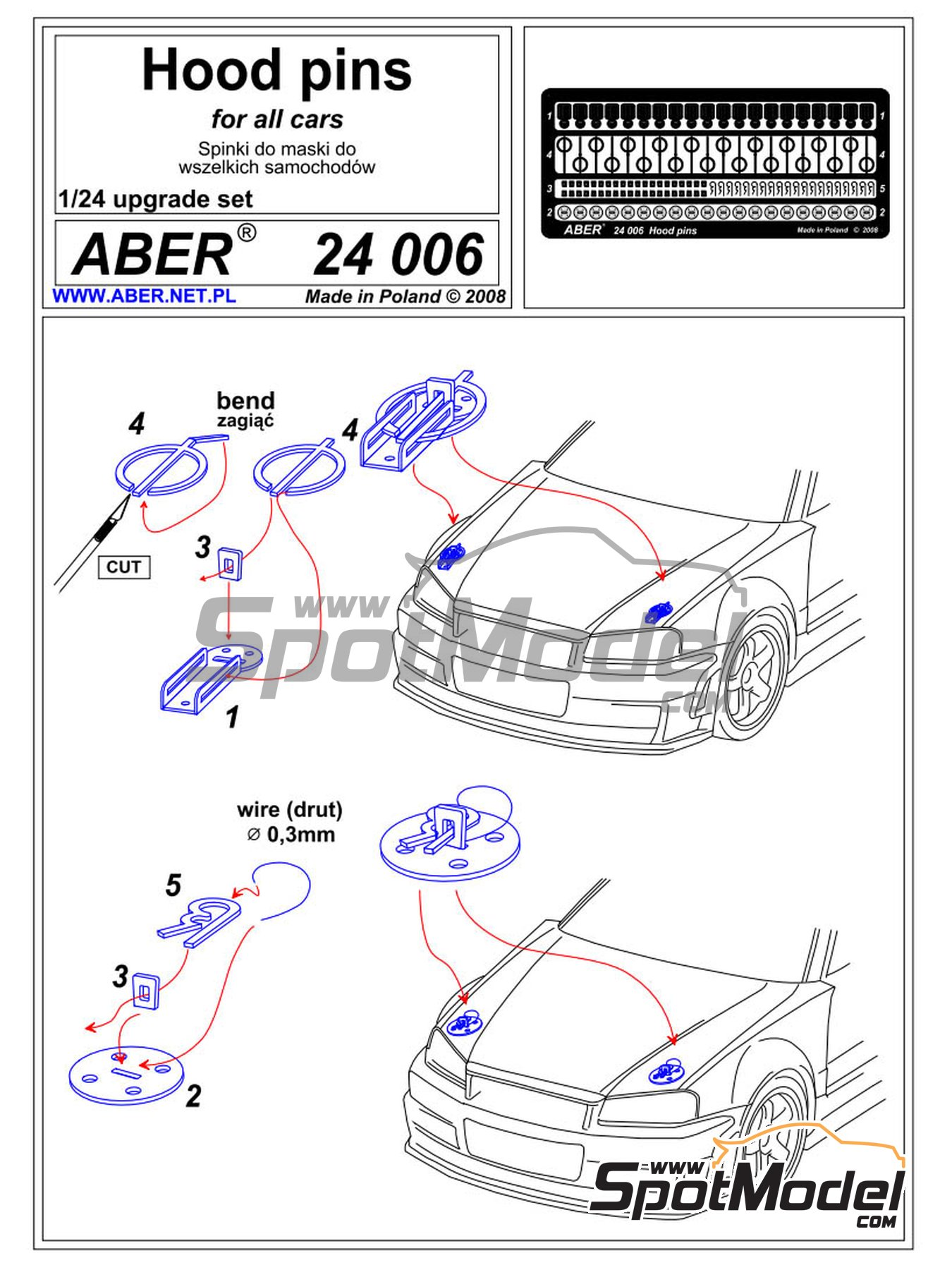 Bonnet pins | Detail in 1/24 scale manufactured by Aber (ref. 24.006) image