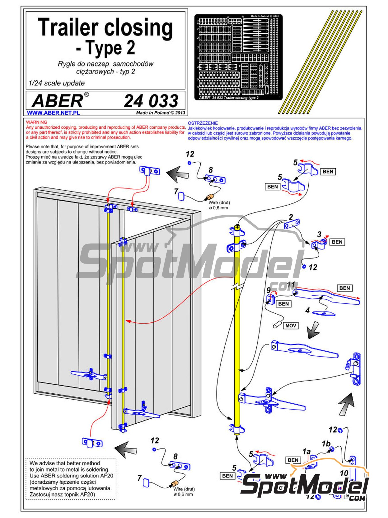 Trailer and container closing | Detail in 1/24 scale manufactured by Aber (ref.24.033) image
