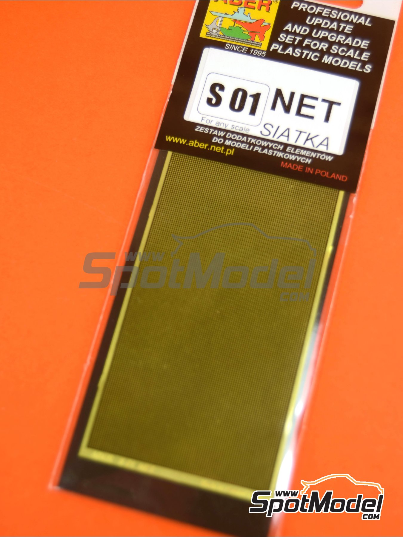 Square grid - 80x45 mm - 0,5x0,5 mm | Mesh manufactured by Aber (ref.S01) image