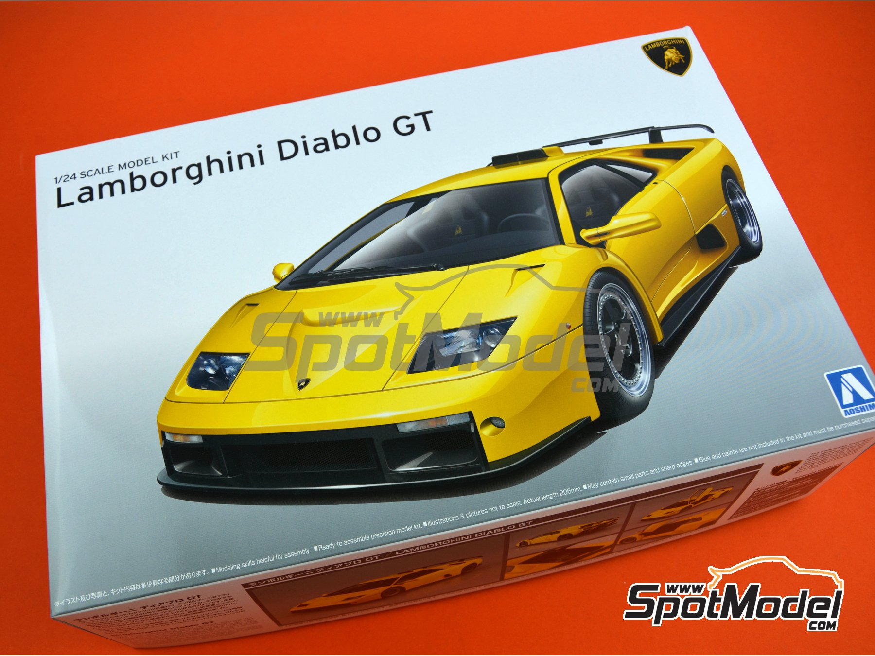 Image 19: Lamborghini Diablo GT | Model car kit in 1/24 scale manufactured by Aoshima (ref. 01052)