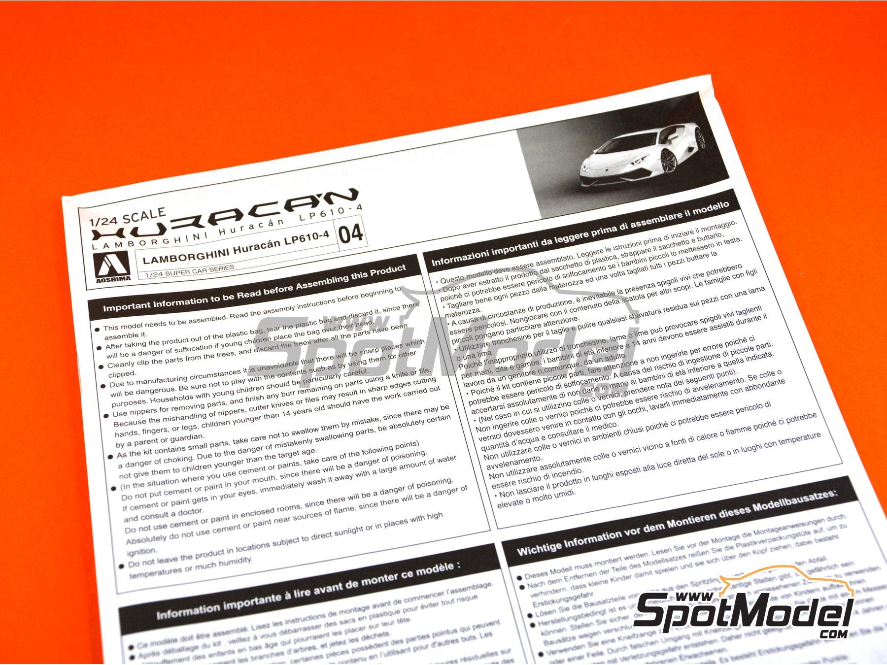 Image 24: Lamborghini Huracan LP610-4 | Maqueta de coche en escala1/24 fabricado por Aoshima (ref.01382)