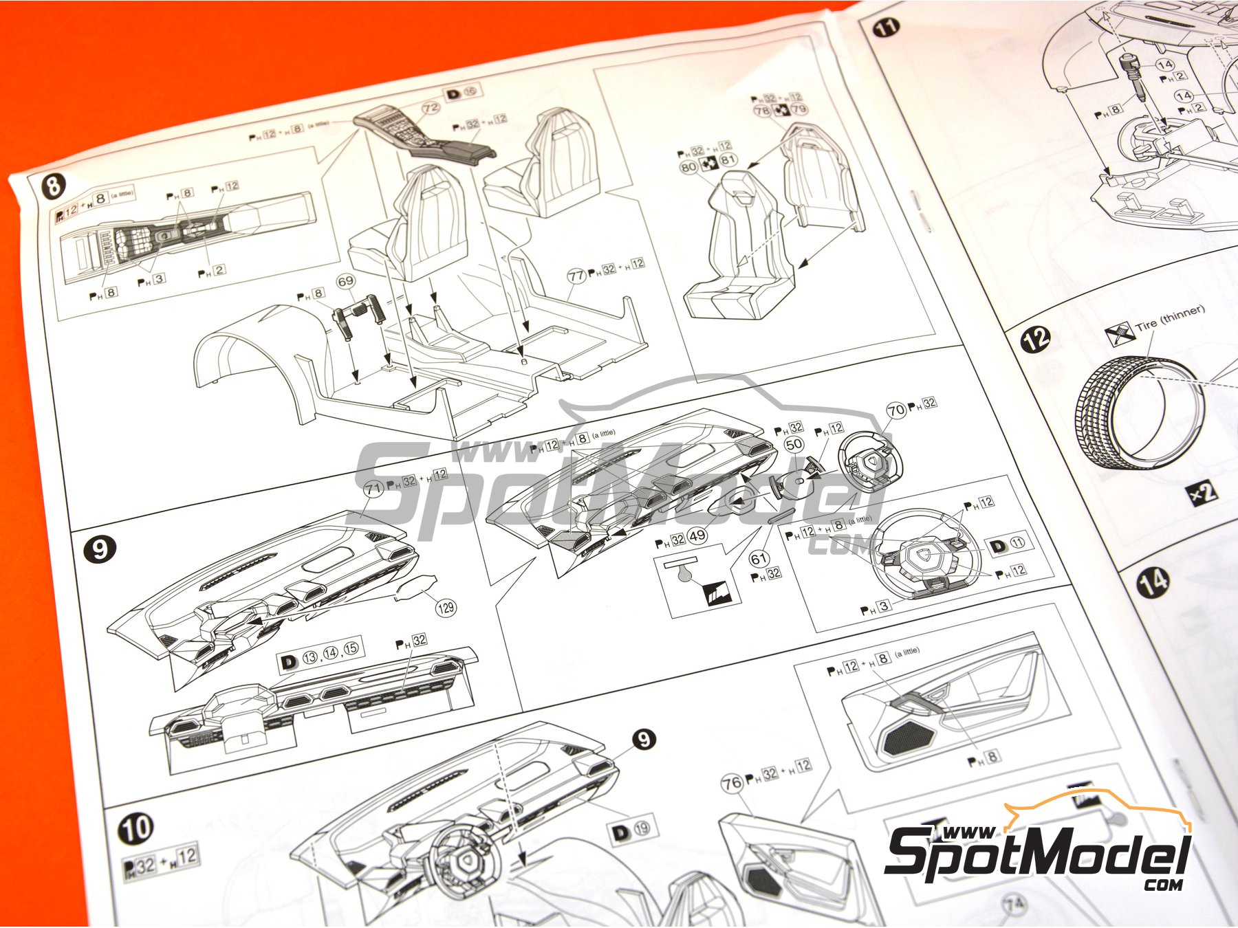 Image 26: Lamborghini Huracan LP610-4 | Model car kit in 1/24 scale manufactured by Aoshima (ref.01382)