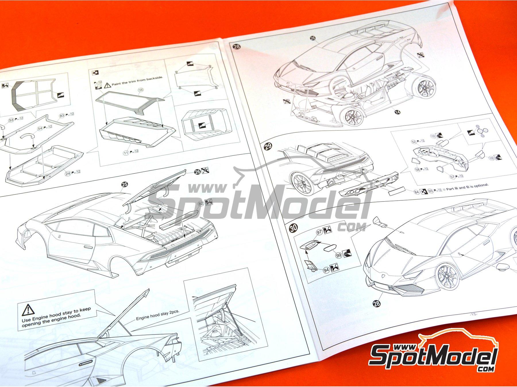 Image 28: Lamborghini Huracan LP610-4 | Model car kit in 1/24 scale manufactured by Aoshima (ref.01382)