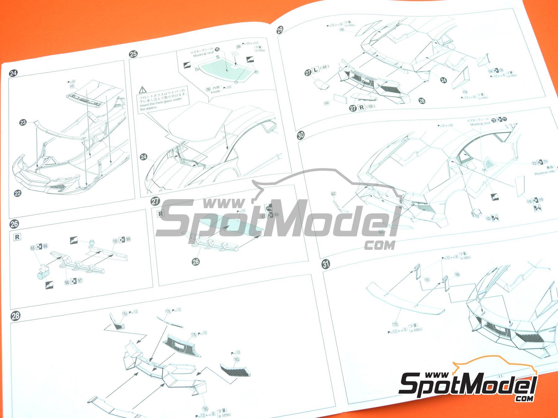 Image 20: Lamborghini Aventador LP750-4 SV | Maqueta de coche en escala1/24 fabricado por Aoshima (ref.05121)