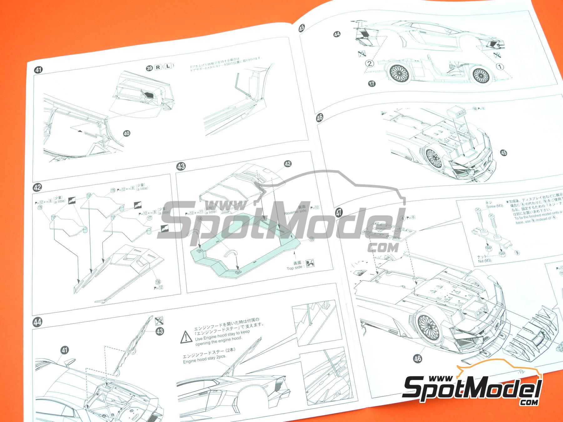 Image 21: Lamborghini Aventador LP750-4 SV | Model car kit in 1/24 scale manufactured by Aoshima (ref.05121)