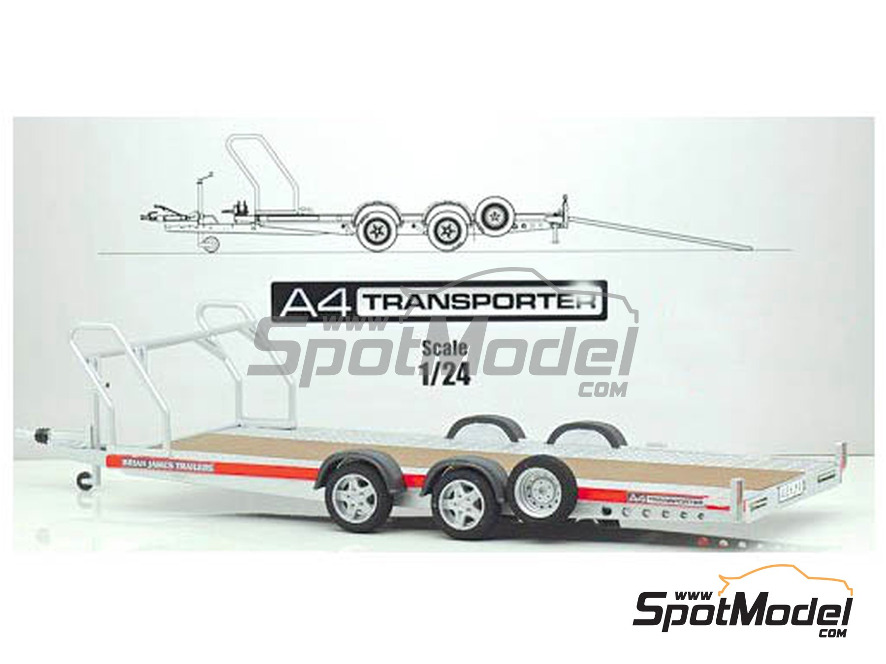 Image 1: Brian James Trailers A4 transporter | Model kit in 1/24 scale manufactured by Aoshima (ref. 05260)